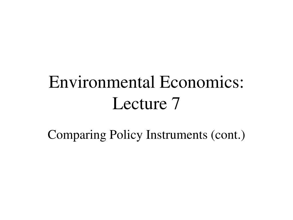 environmental economics lecture 7 l.