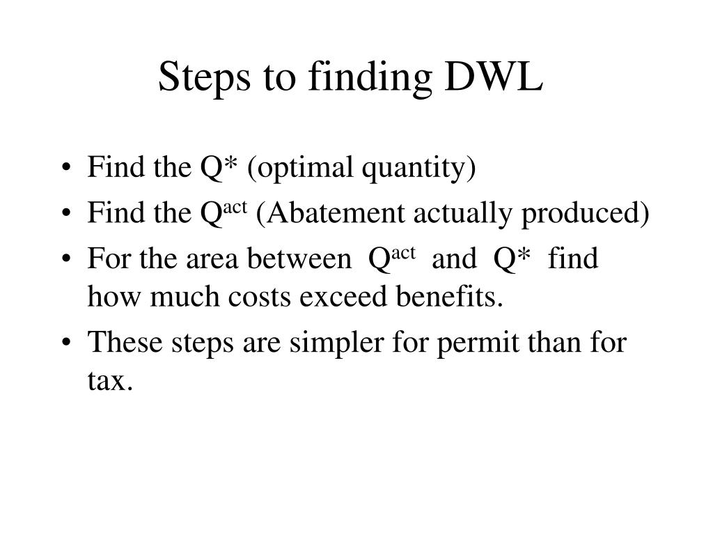 Steps to finding DWL