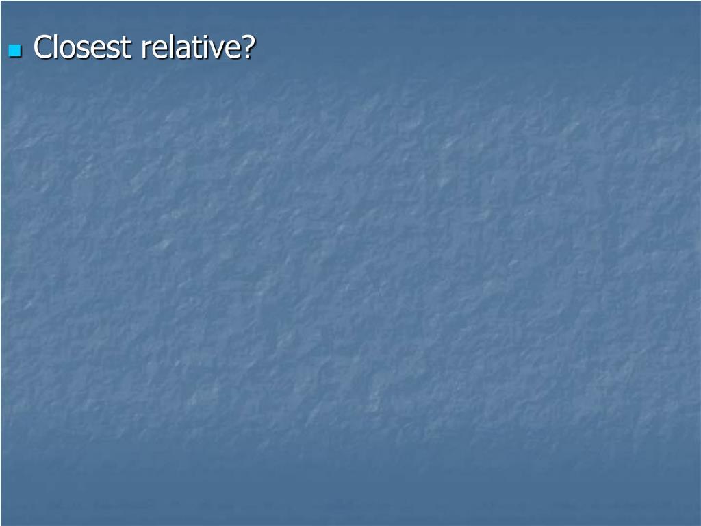 Closest relative?
