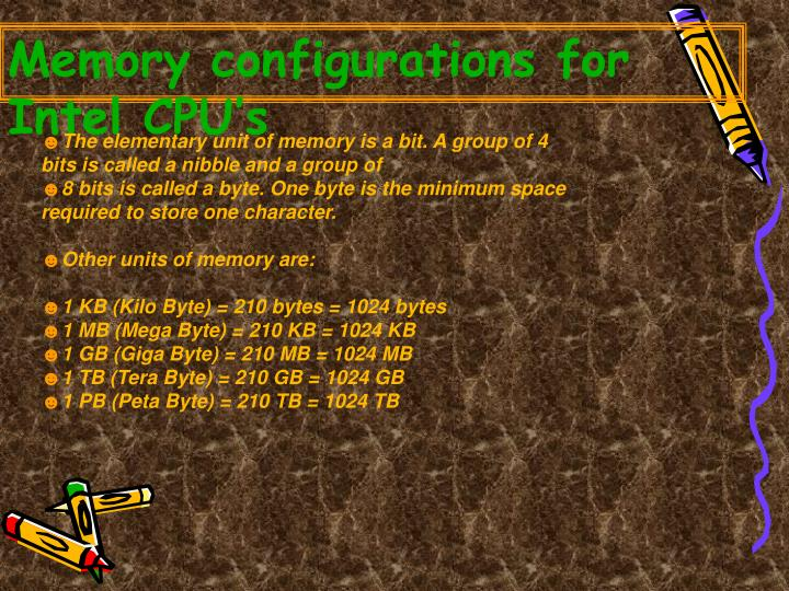 Memory configurations for Intel CPU's