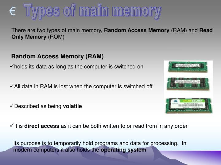 Types of main memory