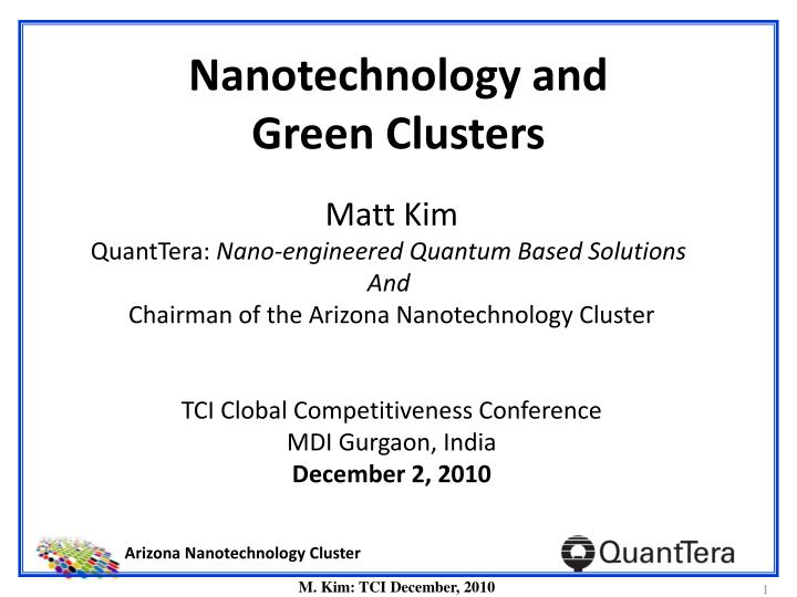 Ppt Nanotechnology And Green Clusters Powerpoint