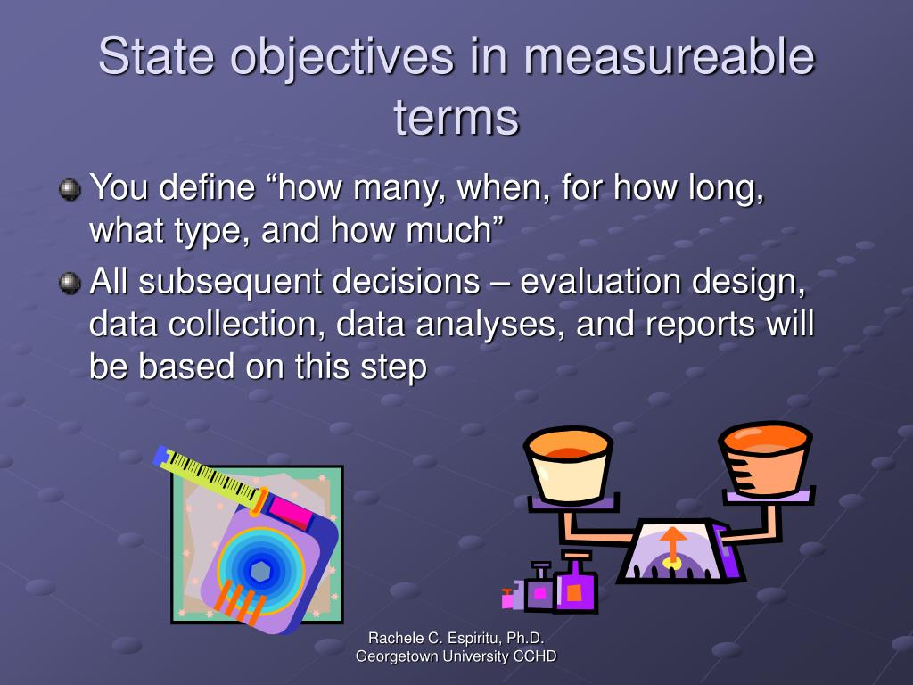 State objectives in measureable terms