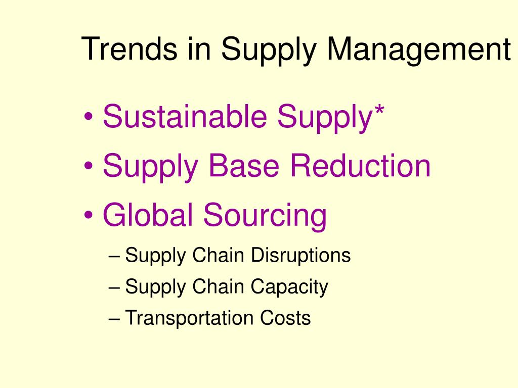 Trends in Supply Management