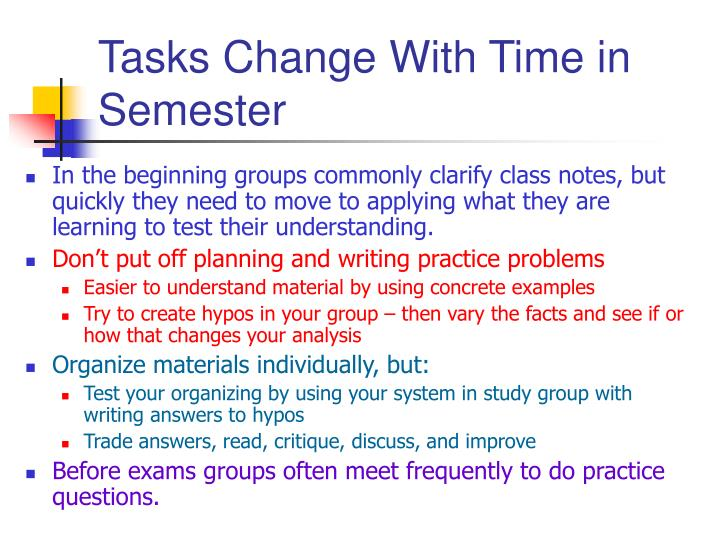 Tasks Change With Time in Semester