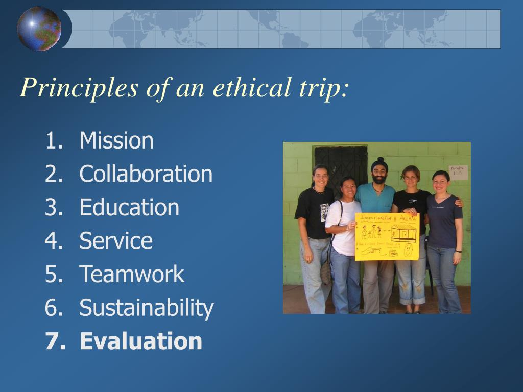 Principles of an ethical trip: