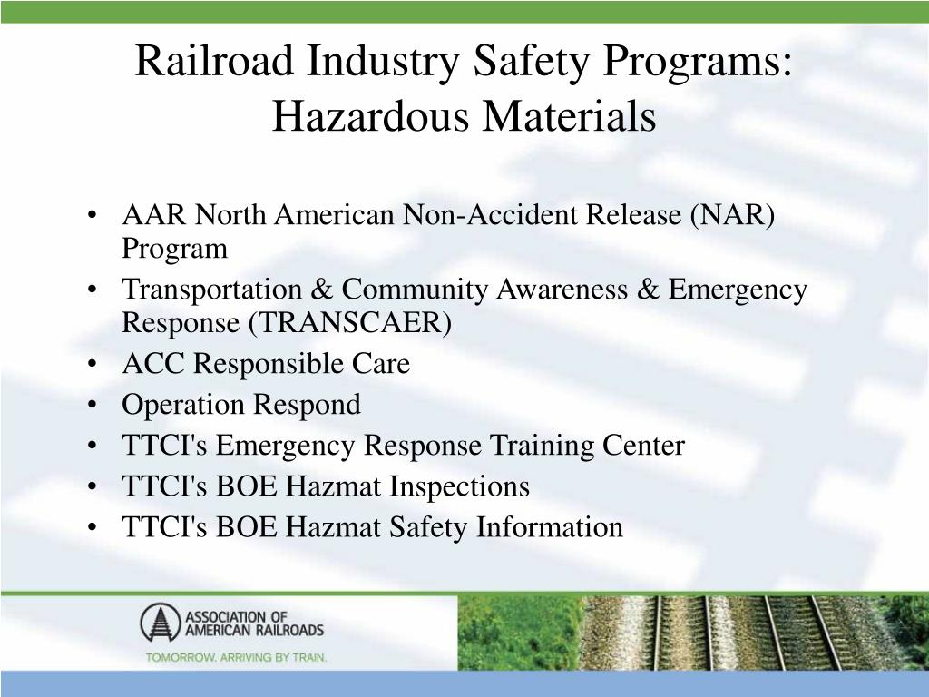 Railroad Industry Safety Programs: Hazardous Materials