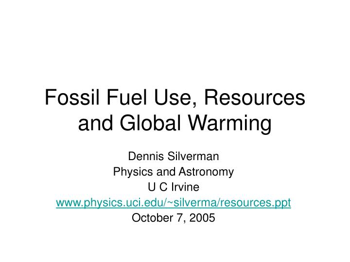 fossil fuel use resources and global warming n.