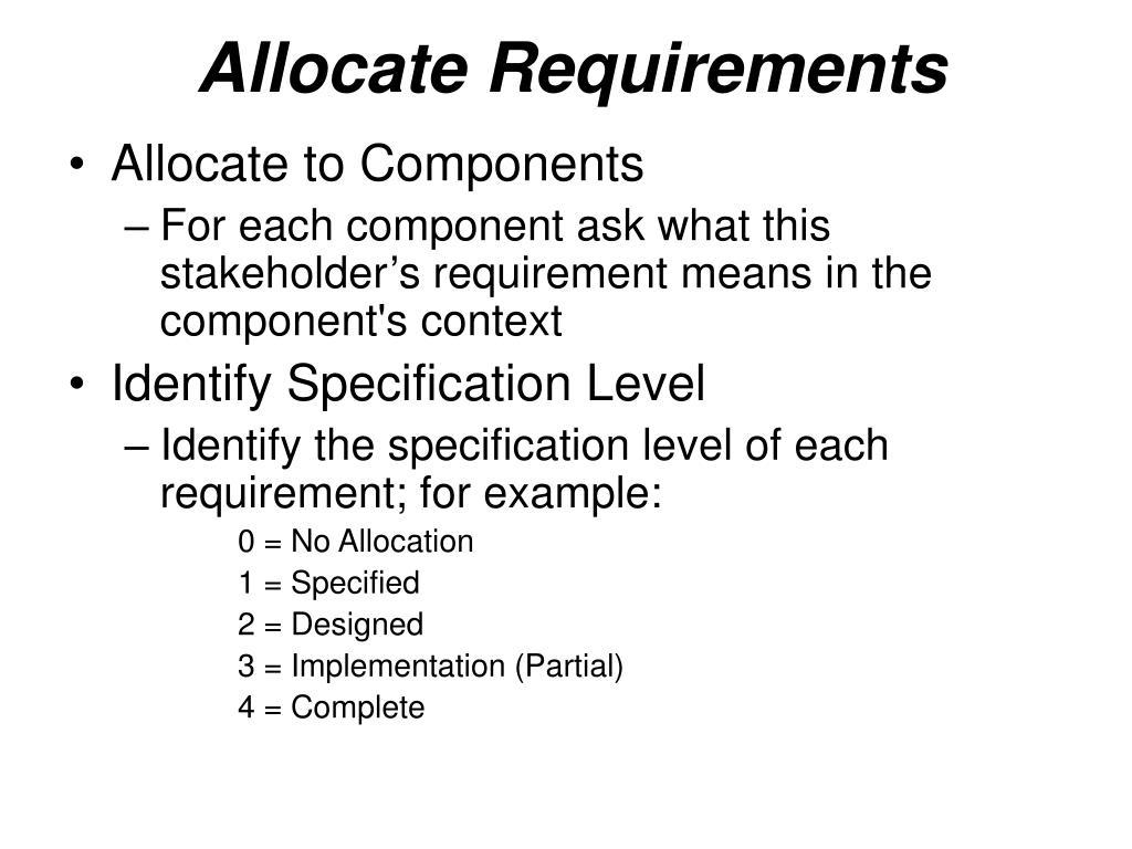Allocate Requirements