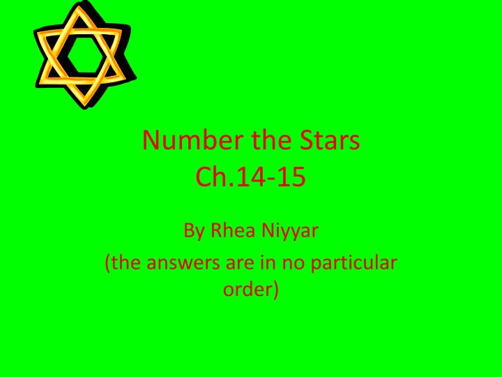 number the stars ch 14 15 n.