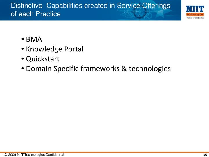 Distinctive  Capabilities created in Service Offerings