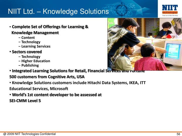 NIIT Ltd. – Knowledge Solutions