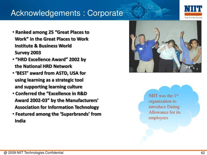 Acknowledgements : Corporate