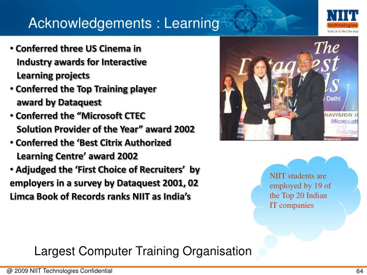 Acknowledgements : Learning