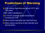 predictions of warming