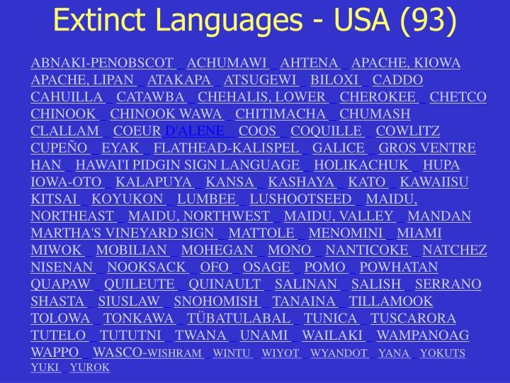 Extinct Languages - USA (93)