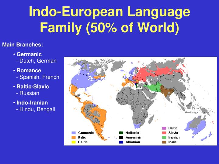 Indo-European Language Family (50% of World)