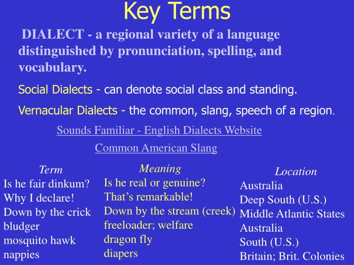 DIALECT - a regional variety of a language distinguished by pronunciation, spelling, and vocabulary.