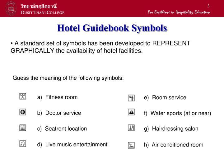 Hotel guidebook symbols