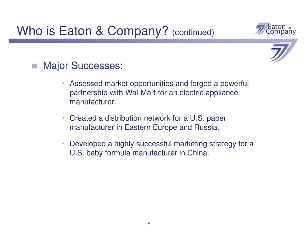 Who is Eaton & Company?
