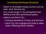 controlling greenhouse emissions