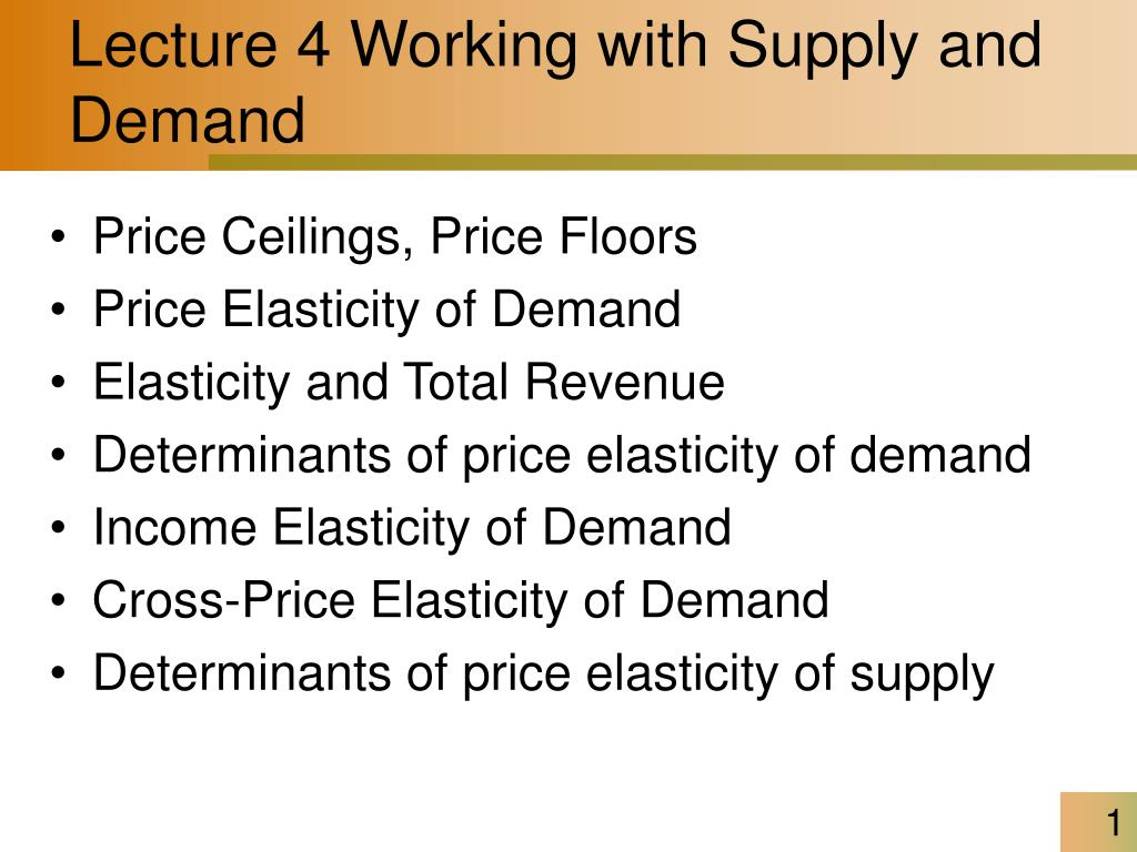 Ppt Lecture 4 Working With Supply And Demand Powerpoint