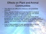 effects on plant and animal communities
