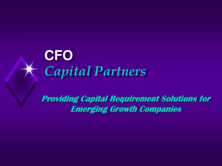 providing capital requirement solutions for emerging growth companies n.