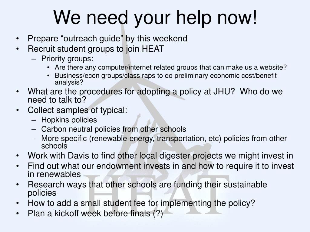 We need your help now!