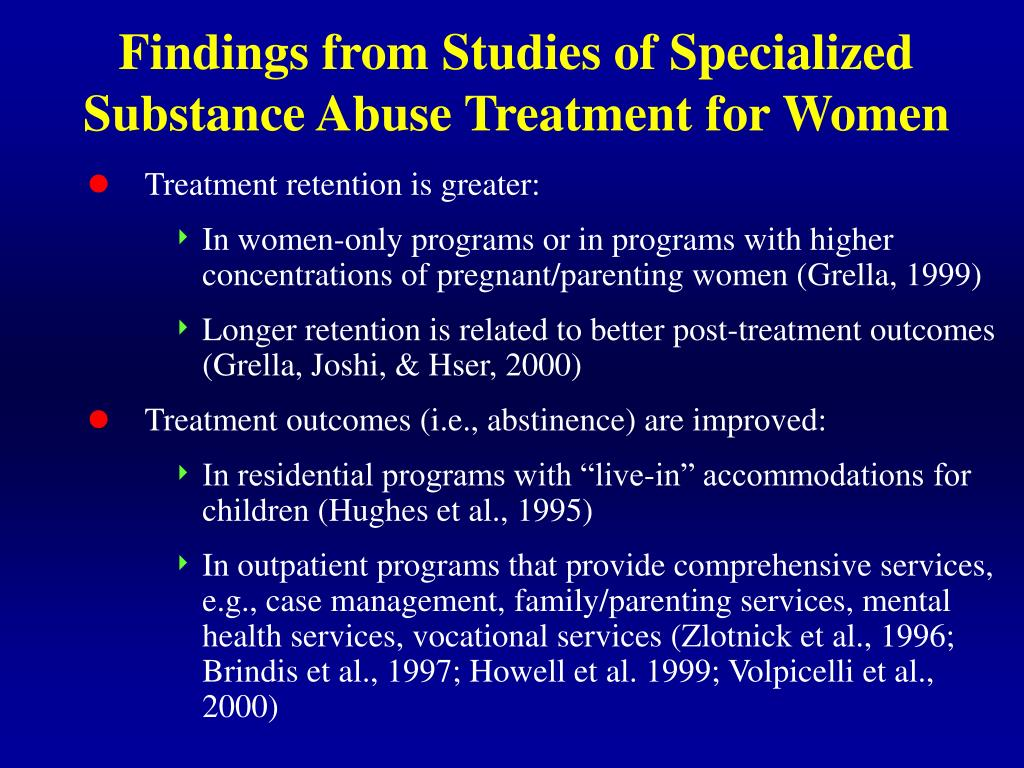 Findings from Studies of Specialized Substance Abuse Treatment for Women