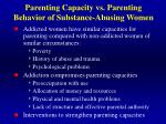 parenting capacity vs parenting behavior of substance abusing women