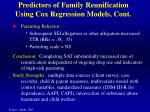 predictors of family reunification using cox regression models cont