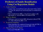 predictors of family reunification using cox regression models