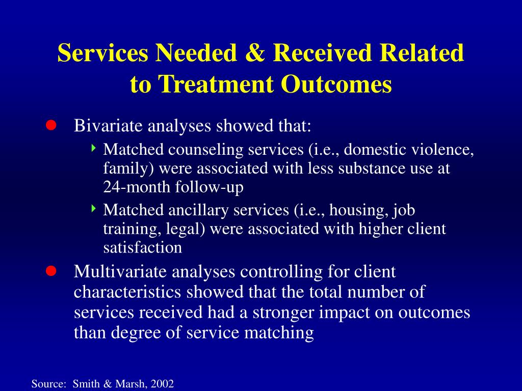 Services Needed & Received Related to Treatment Outcomes