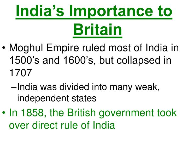 India's Importance to Britain