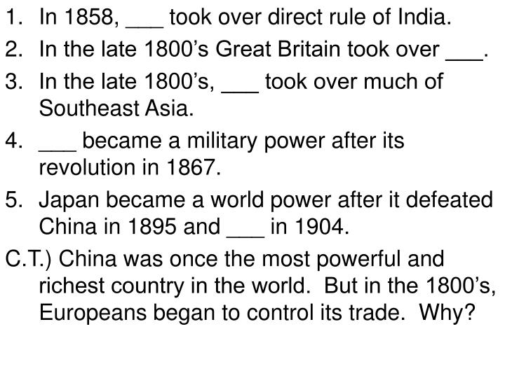 In 1858, ___ took over direct rule of India.