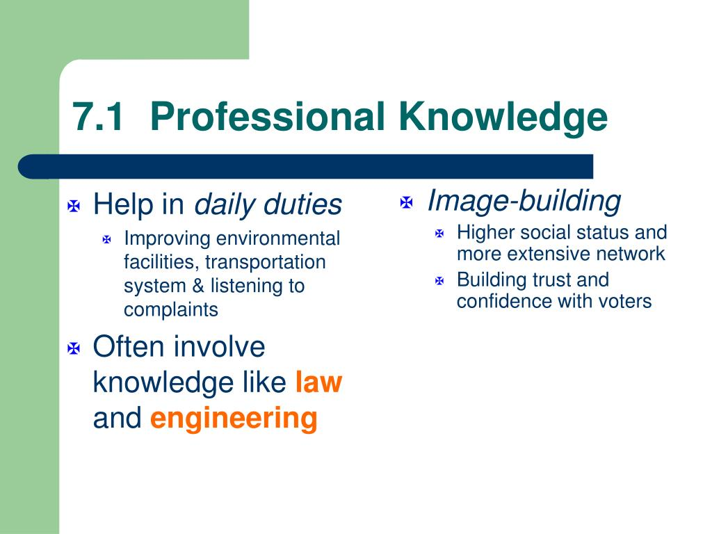 7.1  Professional Knowledge