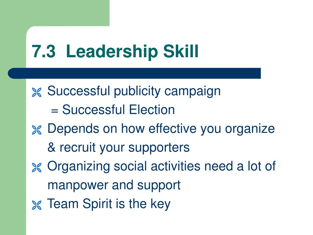 7.3  Leadership Skill