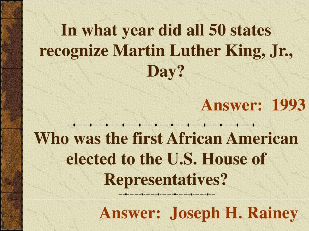 In what year did all 50 states recognize Martin Luther King, Jr., Day?