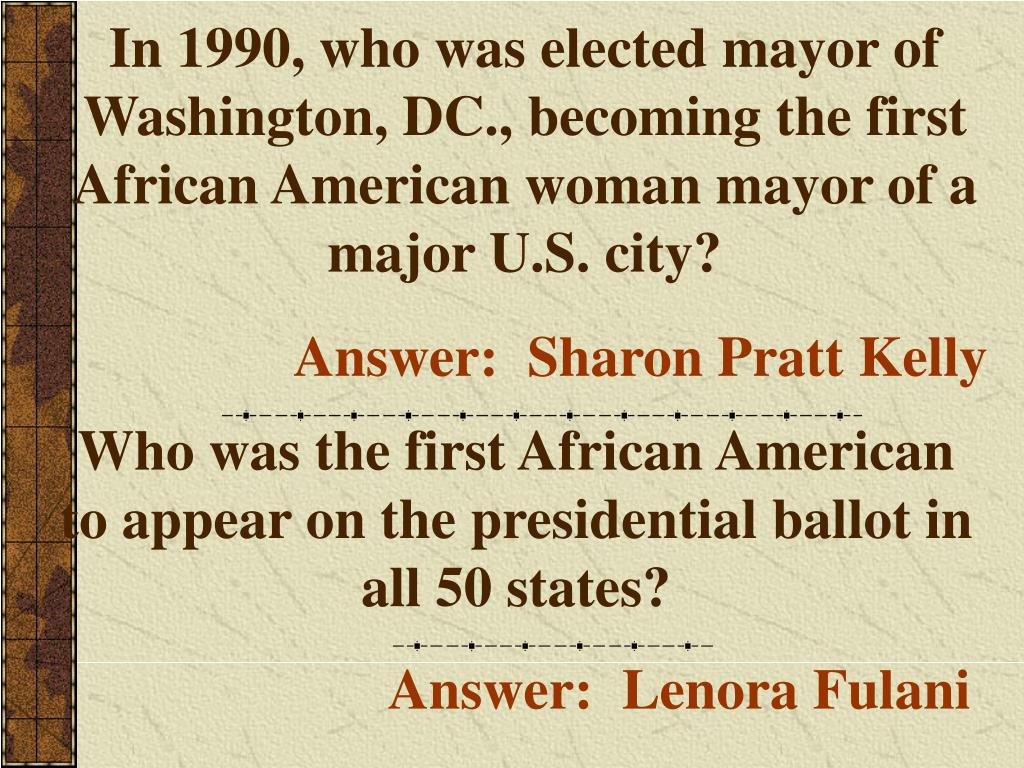 In 1990, who was elected mayor of Washington, DC., becoming the first African American woman mayor of a major U.S. city?
