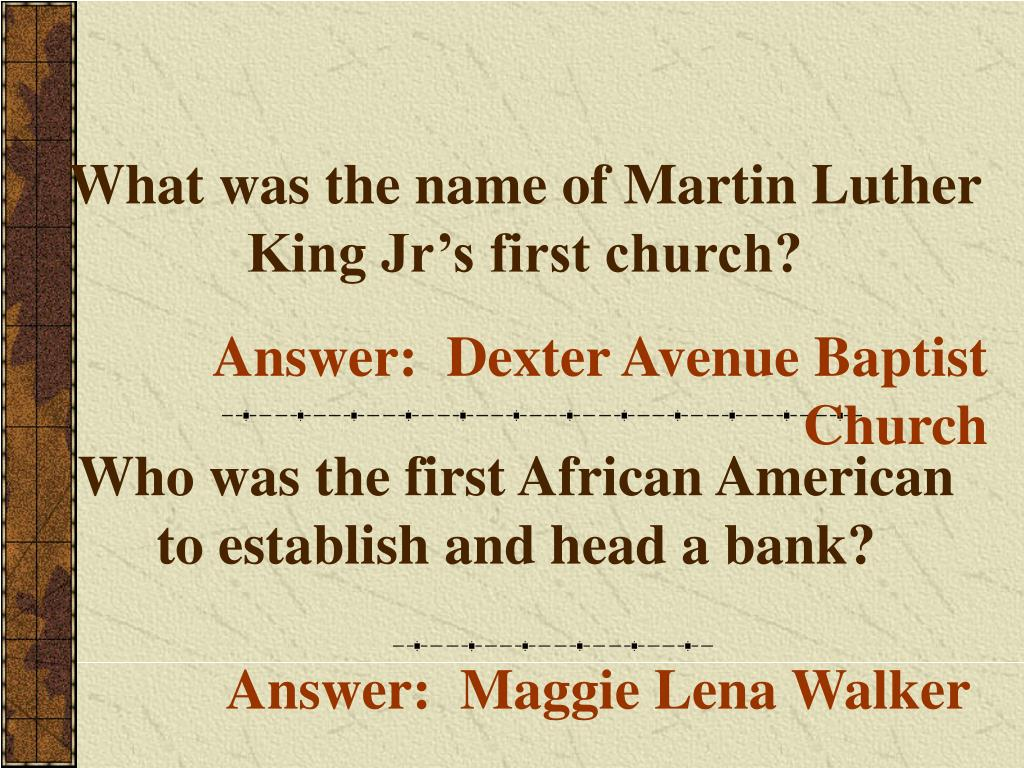 What was the name of Martin Luther King Jr's first church?
