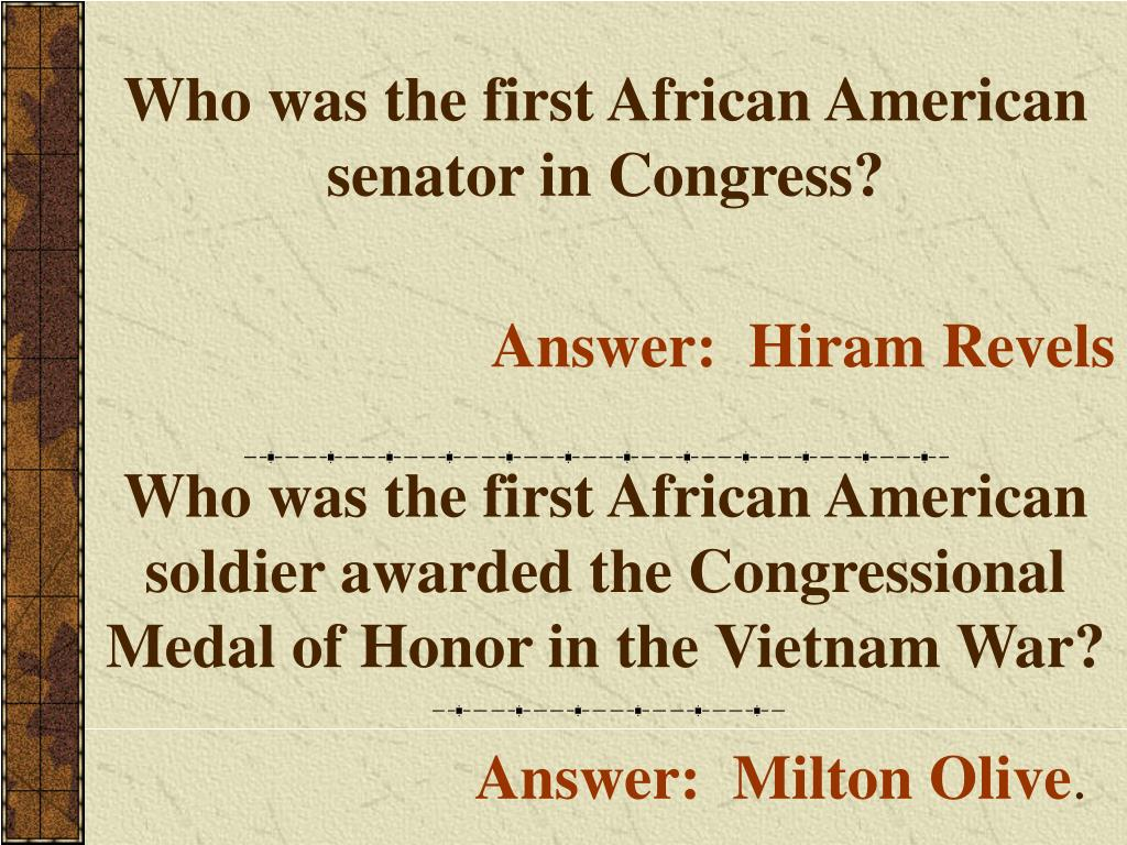 Who was the first African American senator in Congress?