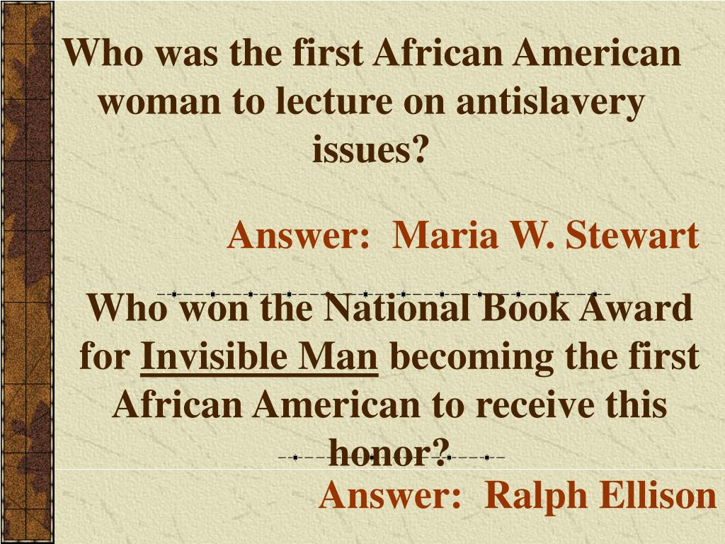 Who was the first African American woman to lecture on antislavery issues?