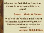 who was the first african american woman to lecture on antislavery issues