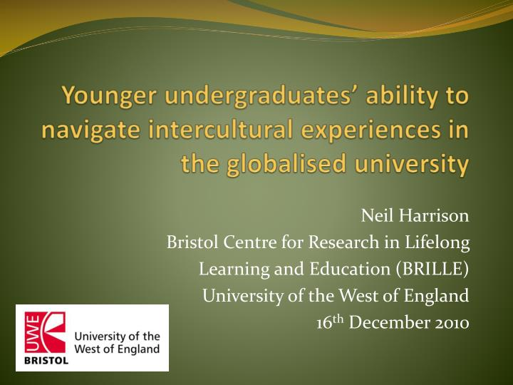 younger undergraduates ability to navigate intercultural experiences in the globalised university n.