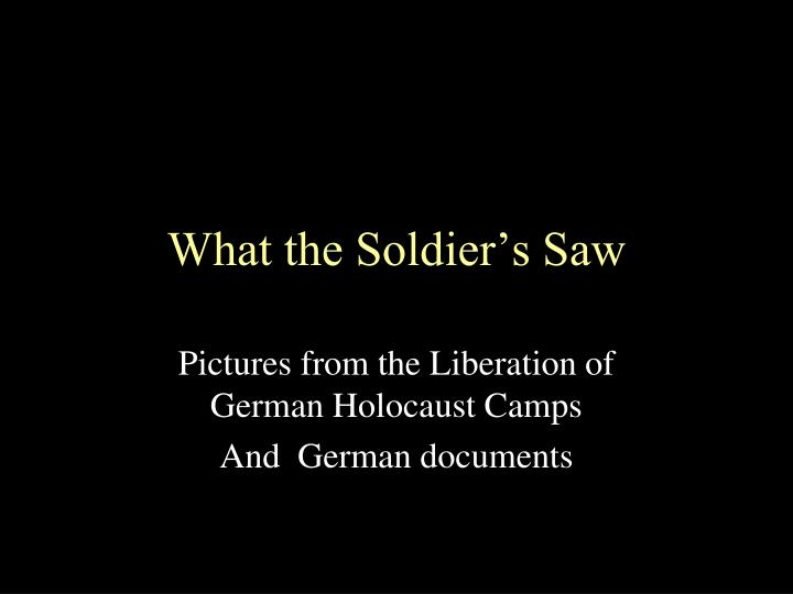 What the Soldier's Saw