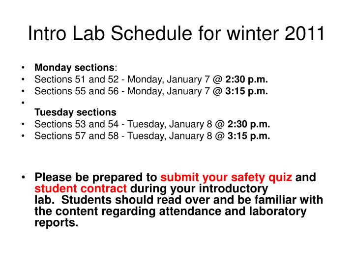 intro lab schedule for winter 2011 n.