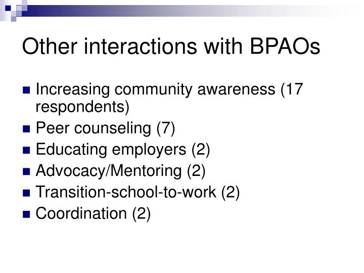 Other interactions with BPAOs