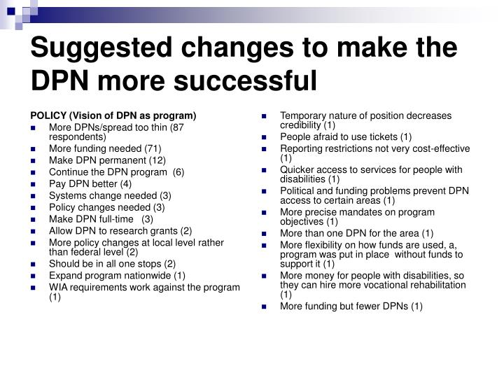 POLICY (Vision of DPN as program)
