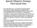 specific mitigation strategy plant based diets